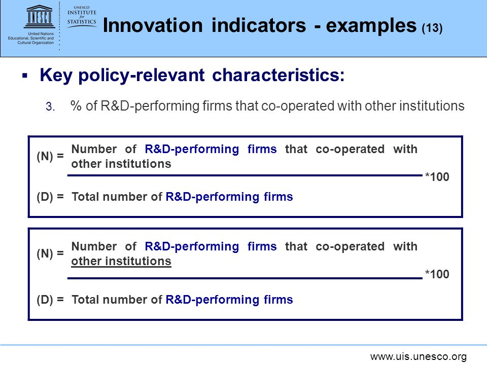 Innovation indicators - examples (13)