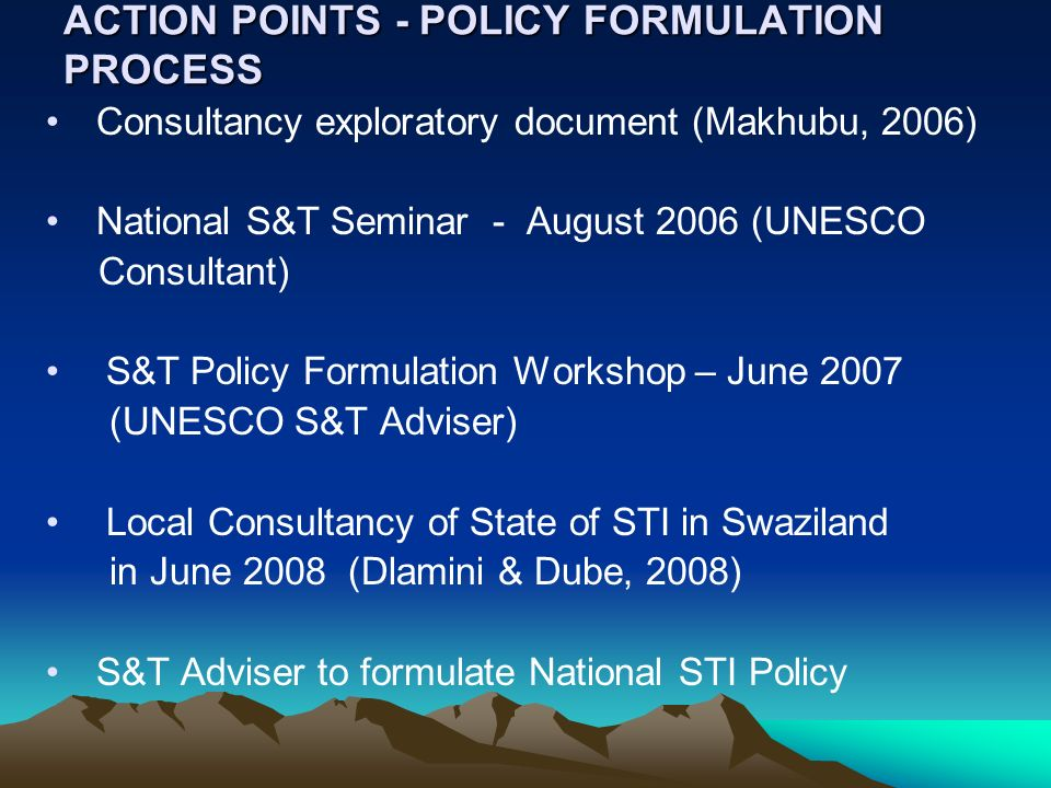 ACTION POINTS - POLICY FORMULATION PROCESS