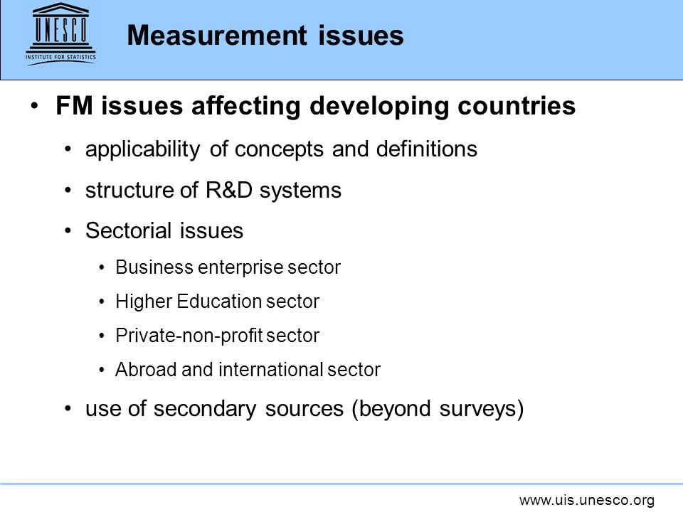 Measurement issues FM issues affecting developing countries