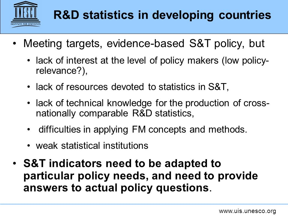 R&D statistics in developing countries