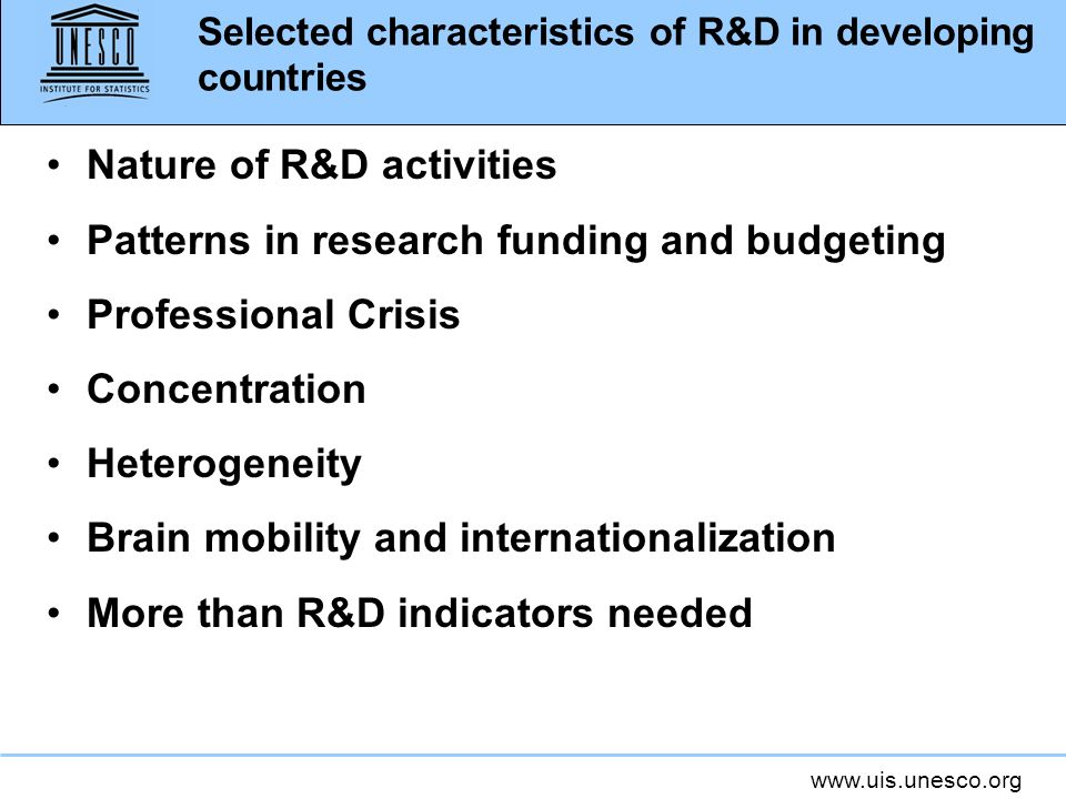 Selected characteristics of R&D in developing countries