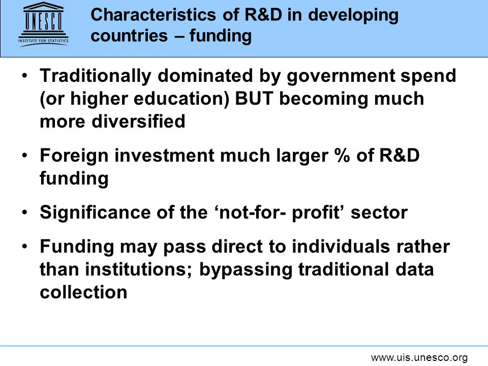 Characteristics of R&D in developing countries – funding
