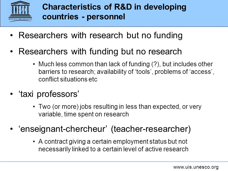 Characteristics of R&D in developing countries - personnel