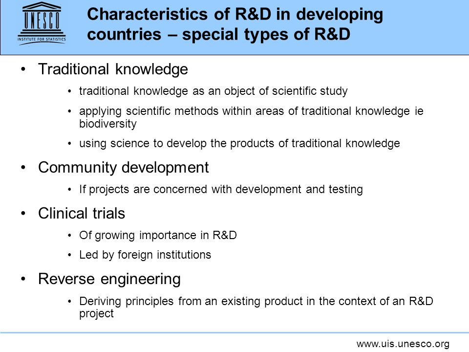 Characteristics of R&D in developing countries – special types of R&D
