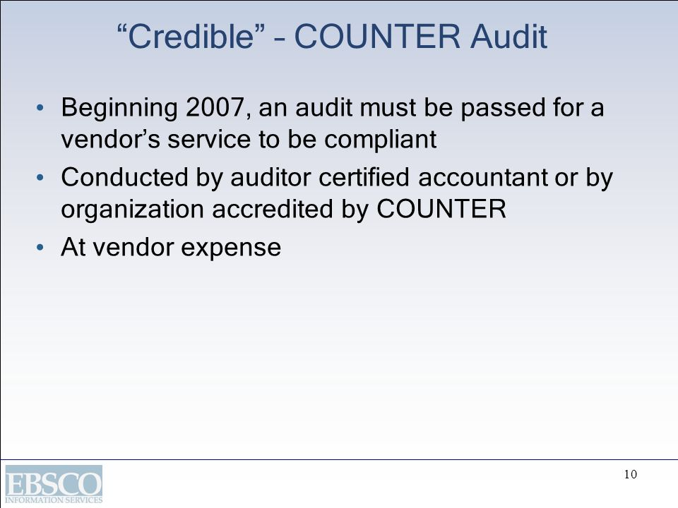 Credible – COUNTER Audit