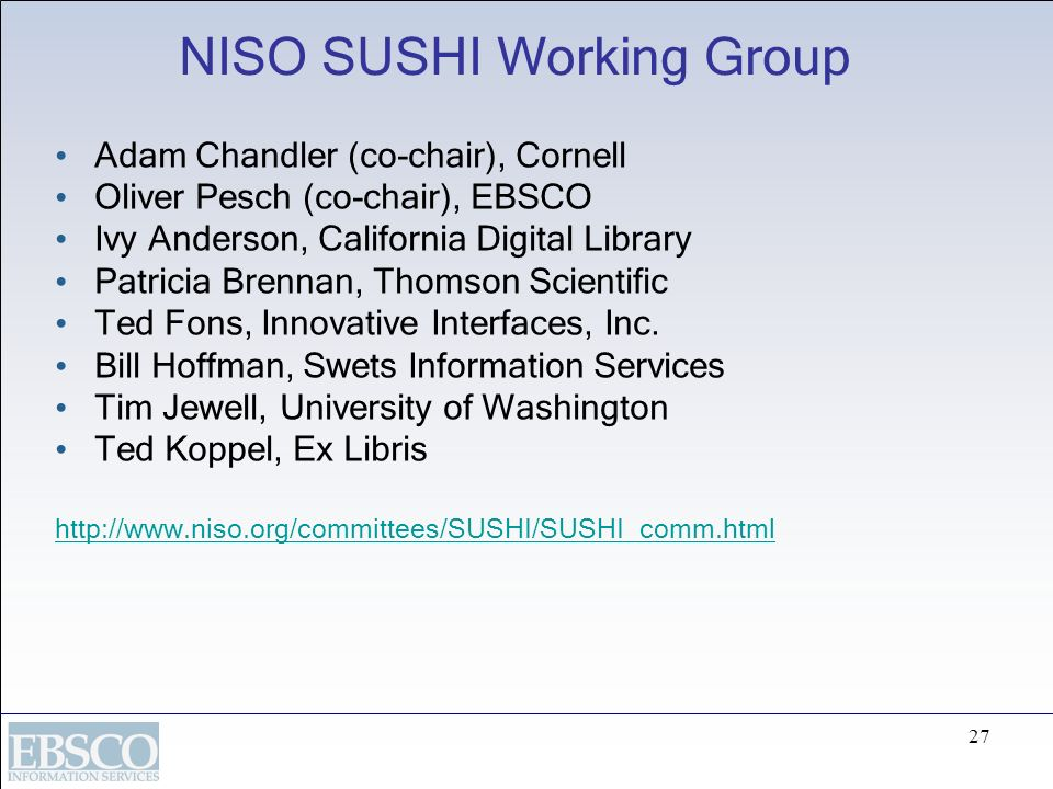 NISO SUSHI Working Group