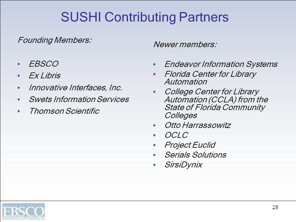 SUSHI Contributing Partners