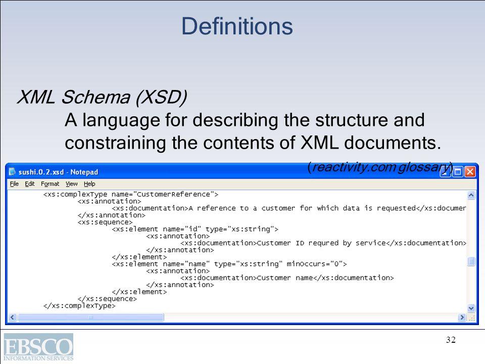 Definitions XML Schema (XSD)