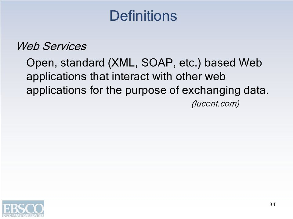 Definitions Web Services