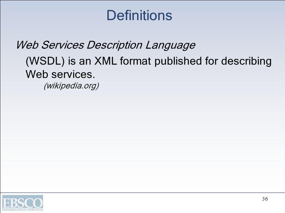 Definitions Web Services Description Language