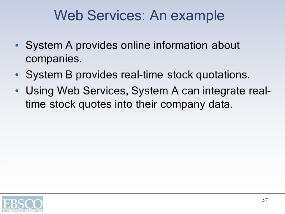 Web Services: An example