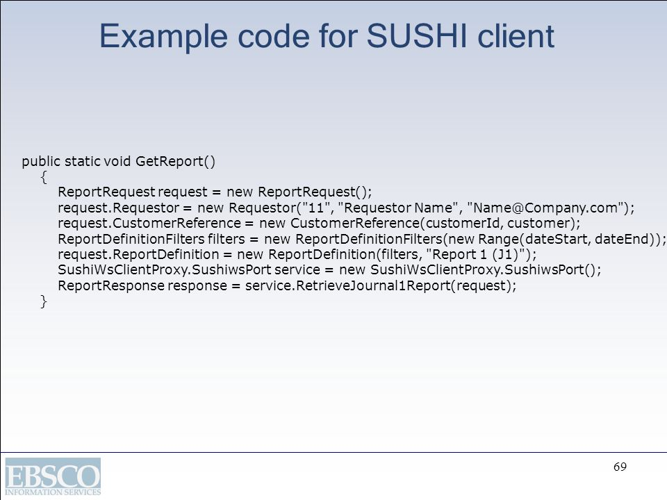 Example code for SUSHI client
