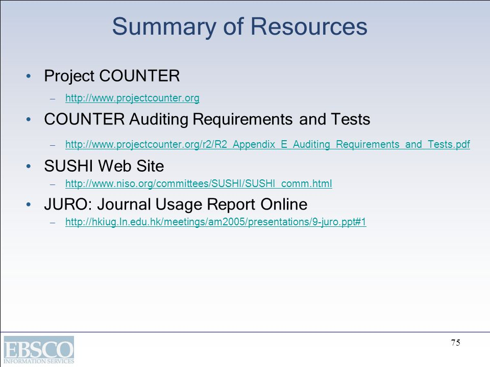 Summary of Resources Project COUNTER