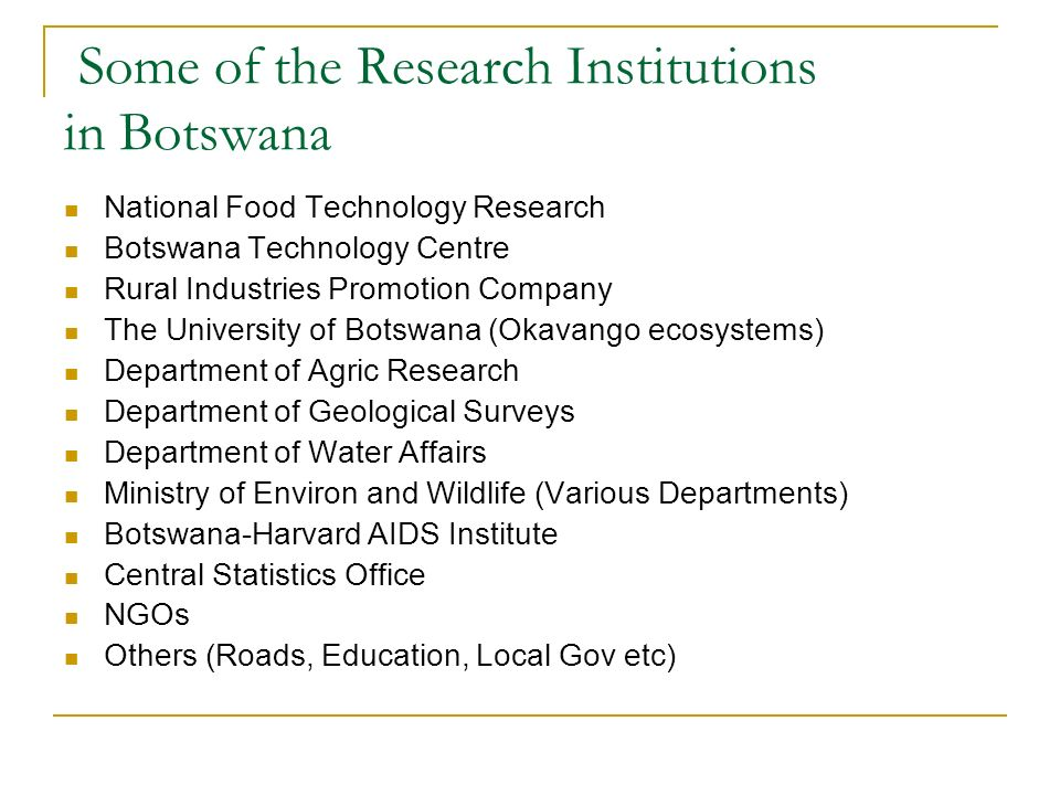 Some of the Research Institutions in Botswana