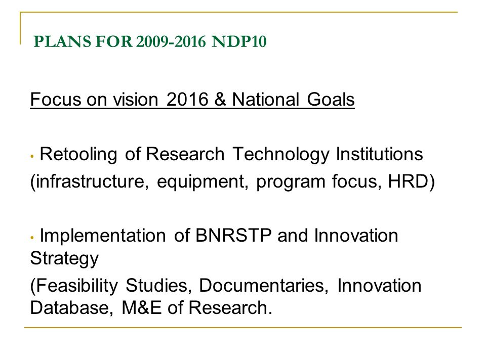 Focus on vision 2016 & National Goals
