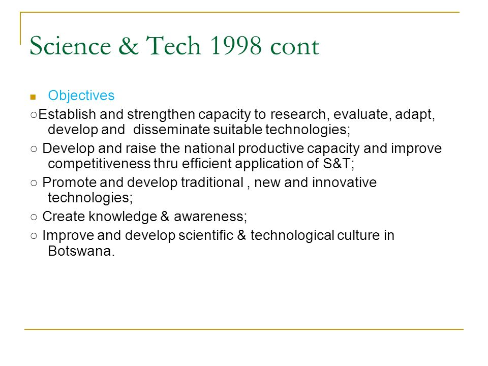 Science & Tech 1998 cont Objectives