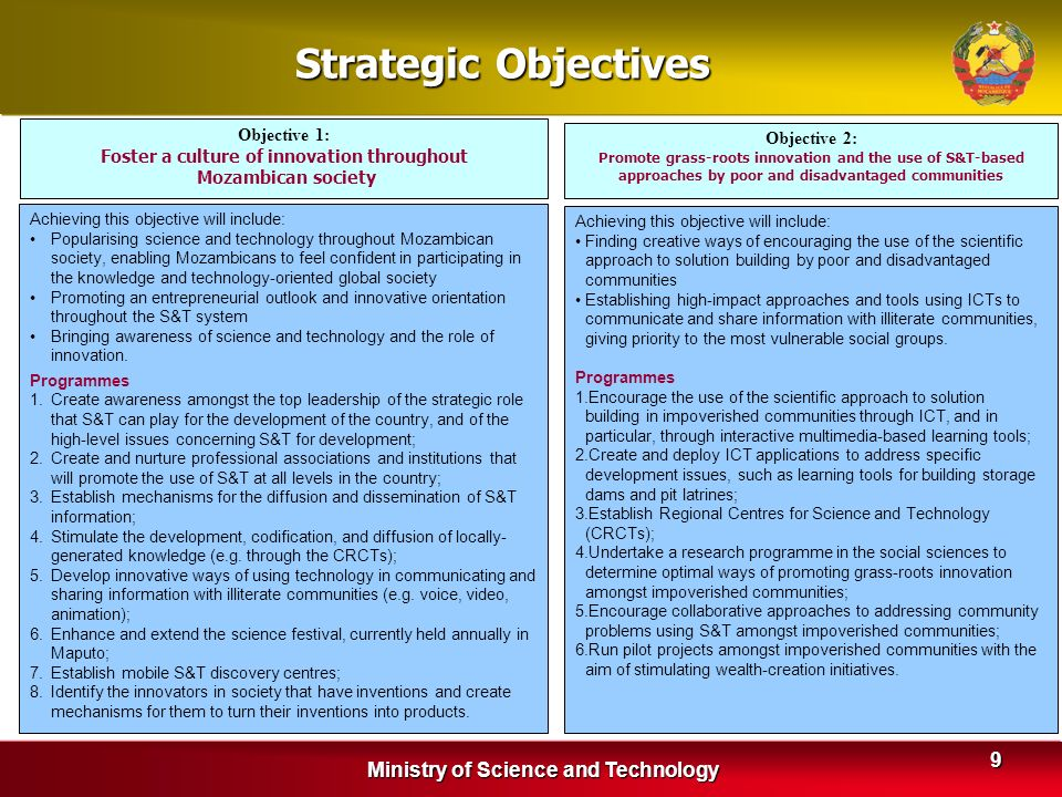 Strategic Objectives Ministry of Science and Technology Objective 1: