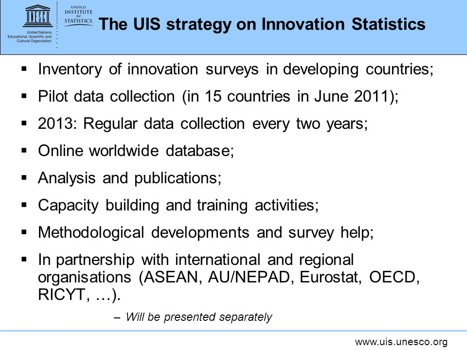The UIS strategy on Innovation Statistics