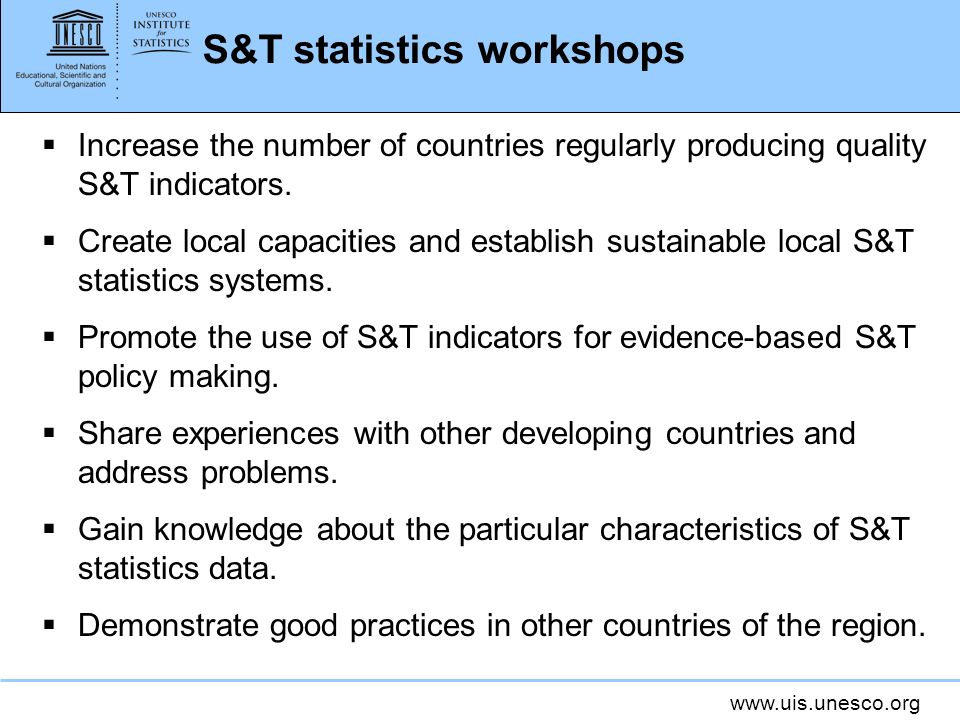 S&T statistics workshops