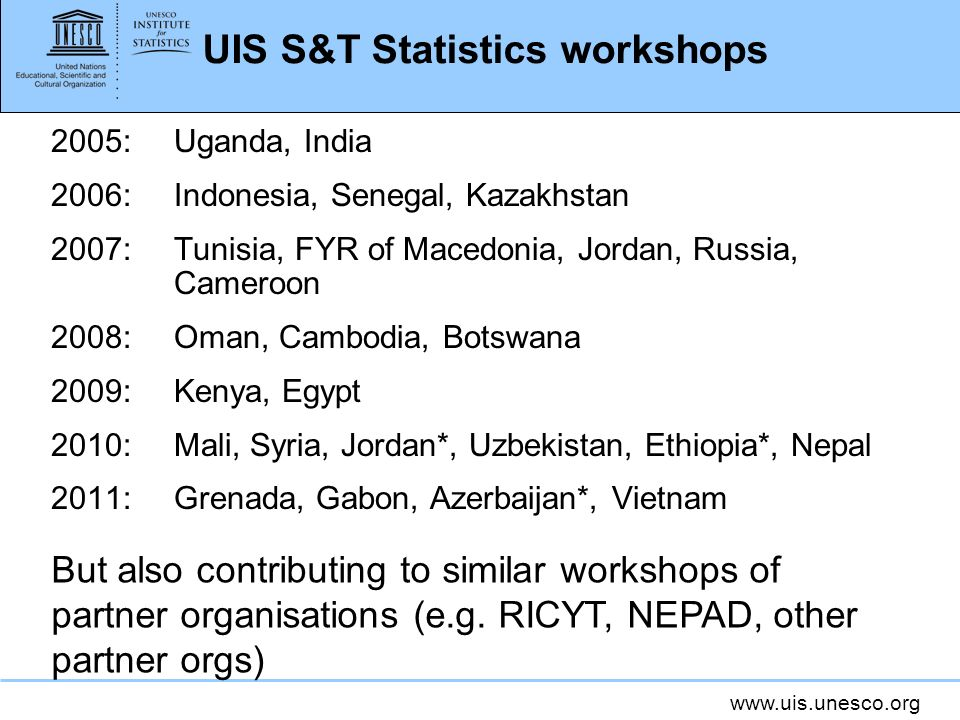 UIS S&T Statistics workshops