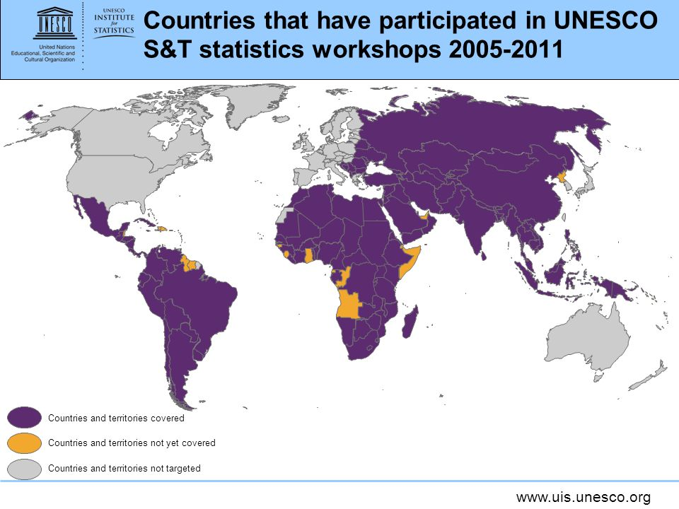 Countries that have participated in UNESCO S&T statistics workshops 2005-2011