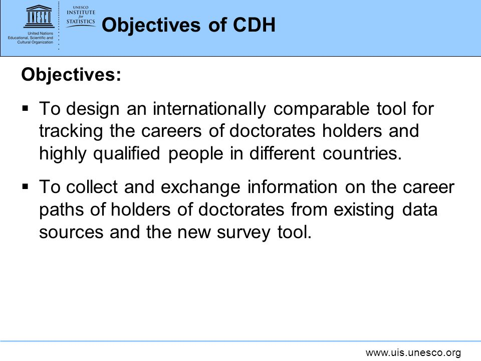 Objectives of CDH Objectives: