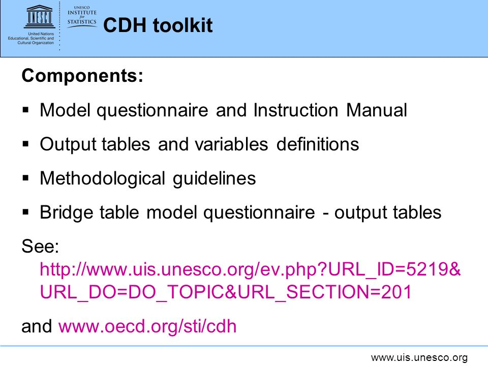 CDH toolkit Components: Model questionnaire and Instruction Manual