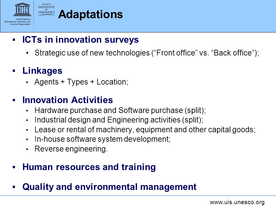 Adaptations ICTs in innovation surveys Linkages Innovation Activities
