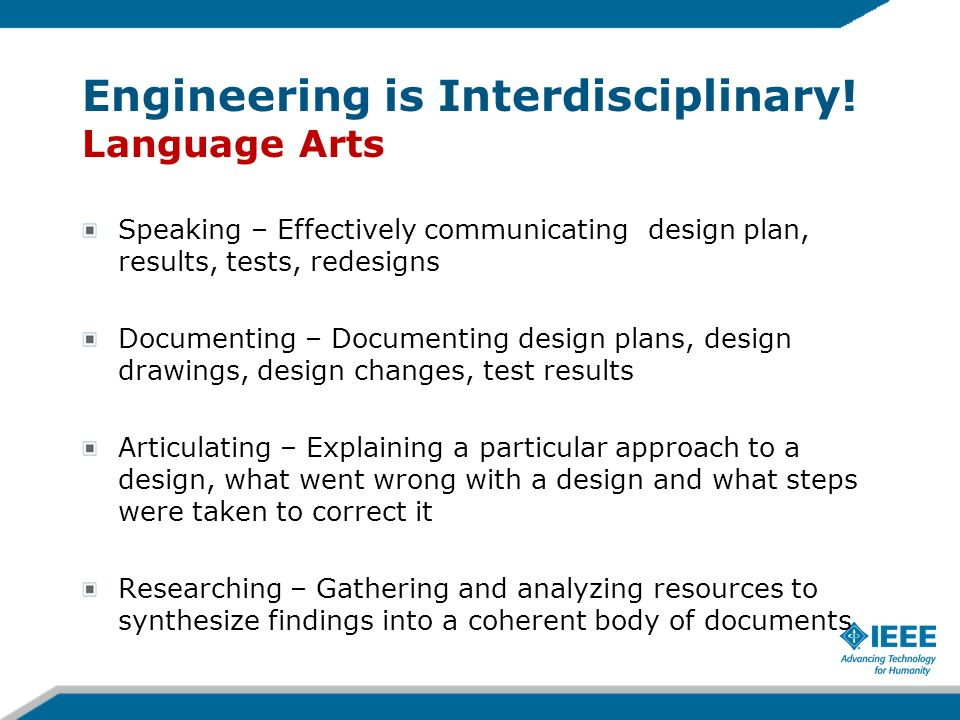 Engineering is Interdisciplinary! Language Arts