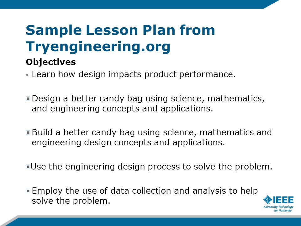 Sample Lesson Plan from Tryengineering.org