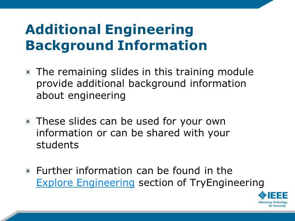 Additional Engineering Background Information