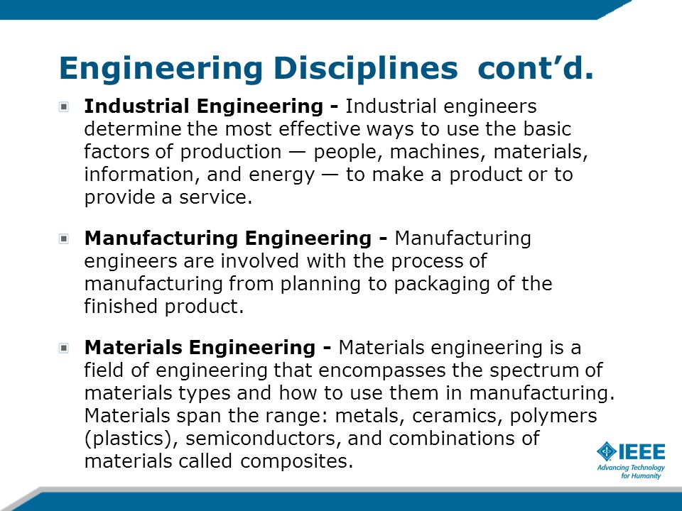 Engineering Disciplines cont'd.