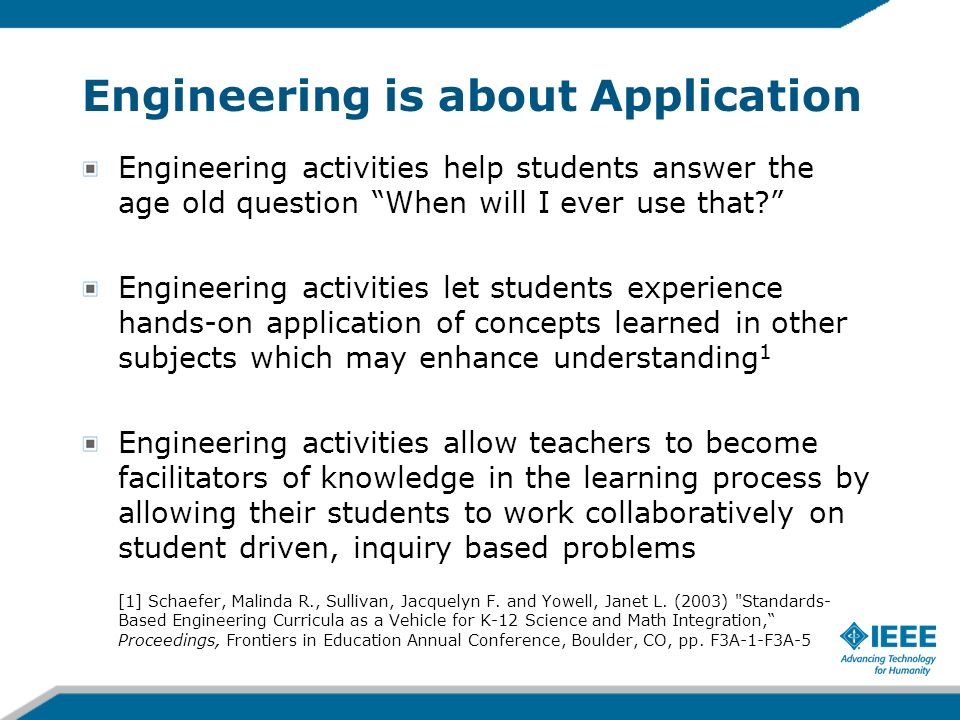 Engineering is about Application