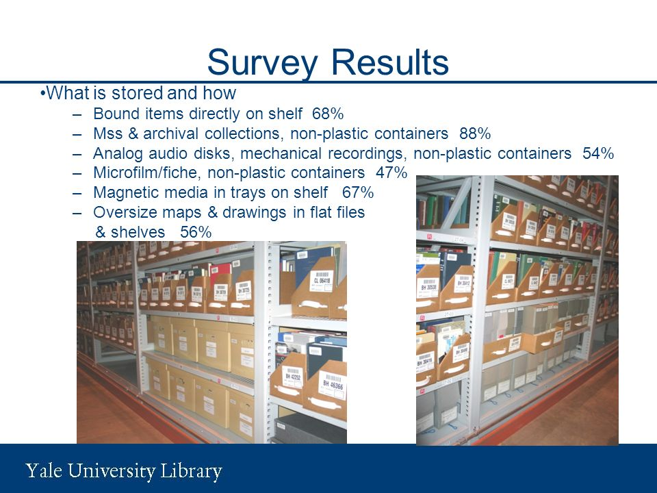 Survey Results What is stored and how