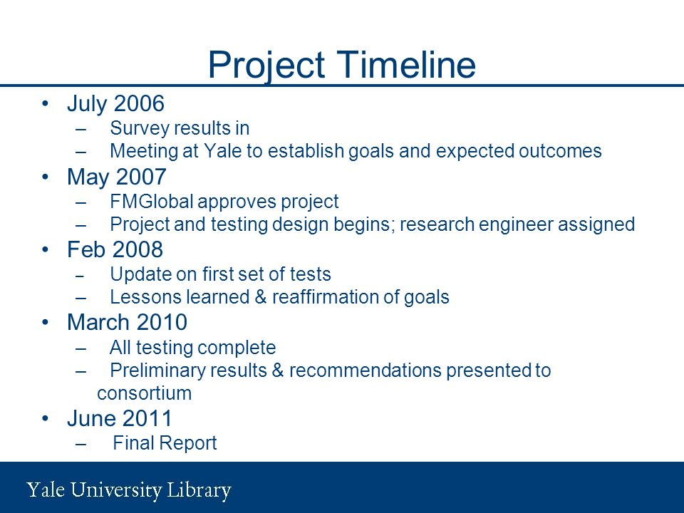 Project Timeline July 2006 May 2007 Feb 2008 March 2010 June 2011