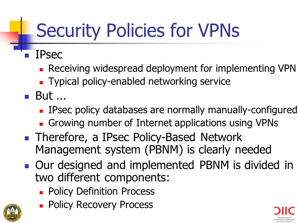 Security Policies for VPNs