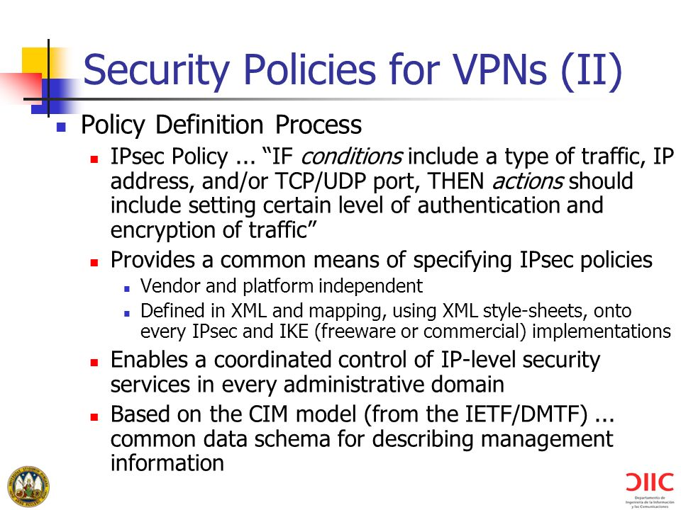 Security Policies for VPNs (II)