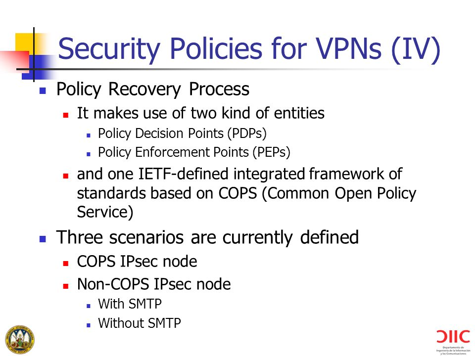 Security Policies for VPNs (IV)