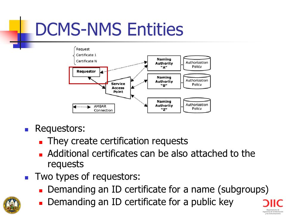 DCMS-NMS Entities Requestors: They create certification requests