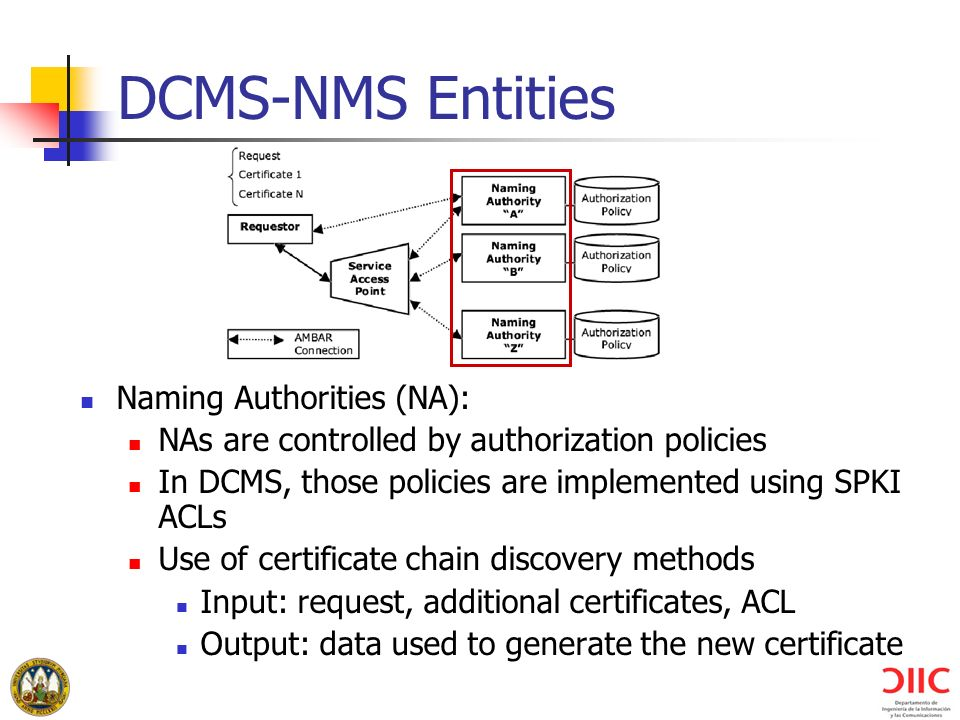 DCMS-NMS Entities Naming Authorities (NA):