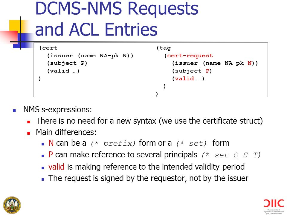 DCMS-NMS Requests and ACL Entries