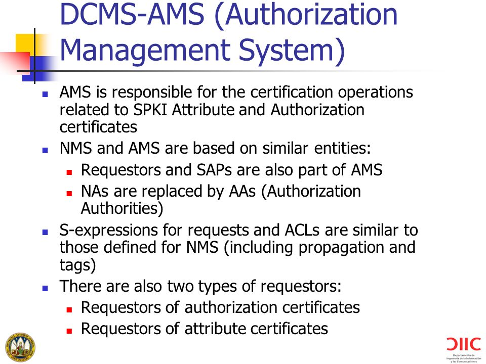DCMS-AMS (Authorization Management System)
