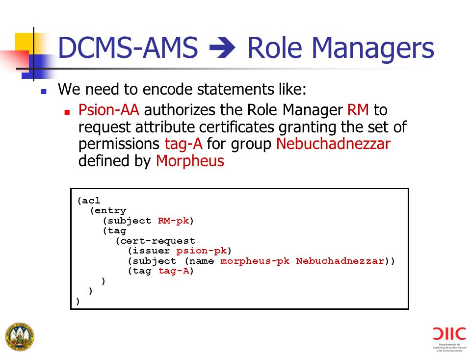 DCMS-AMS  Role Managers