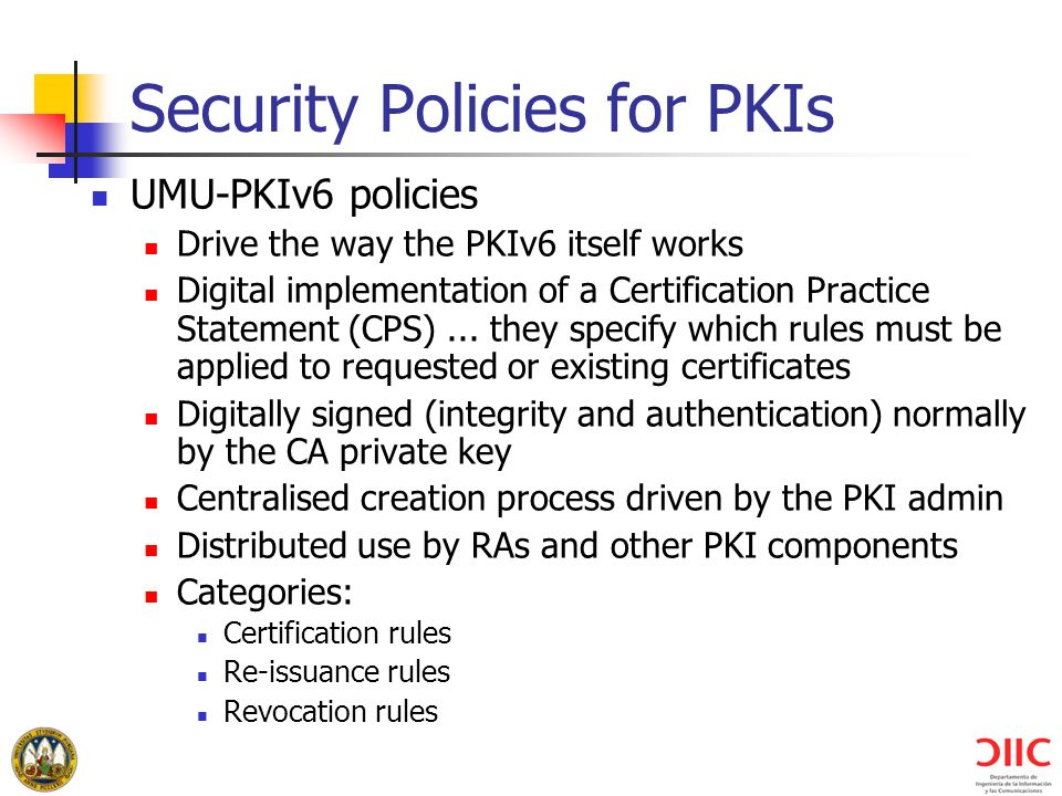 Security Policies for PKIs