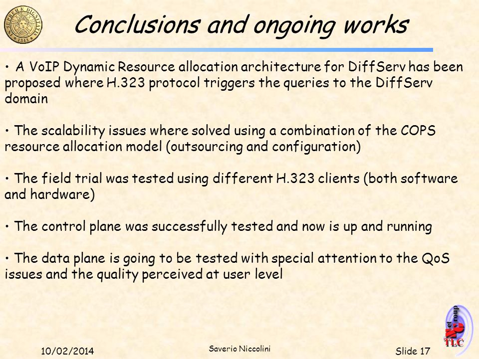 Conclusions and ongoing works