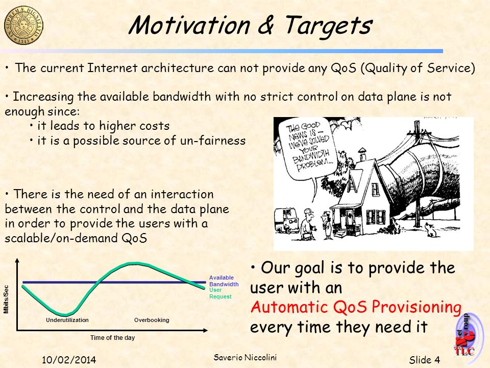 Motivation & Targets The current Internet architecture can not provide any QoS (Quality of Service)