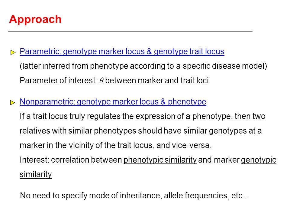 Approach Parametric: genotype marker locus & genotype trait locus