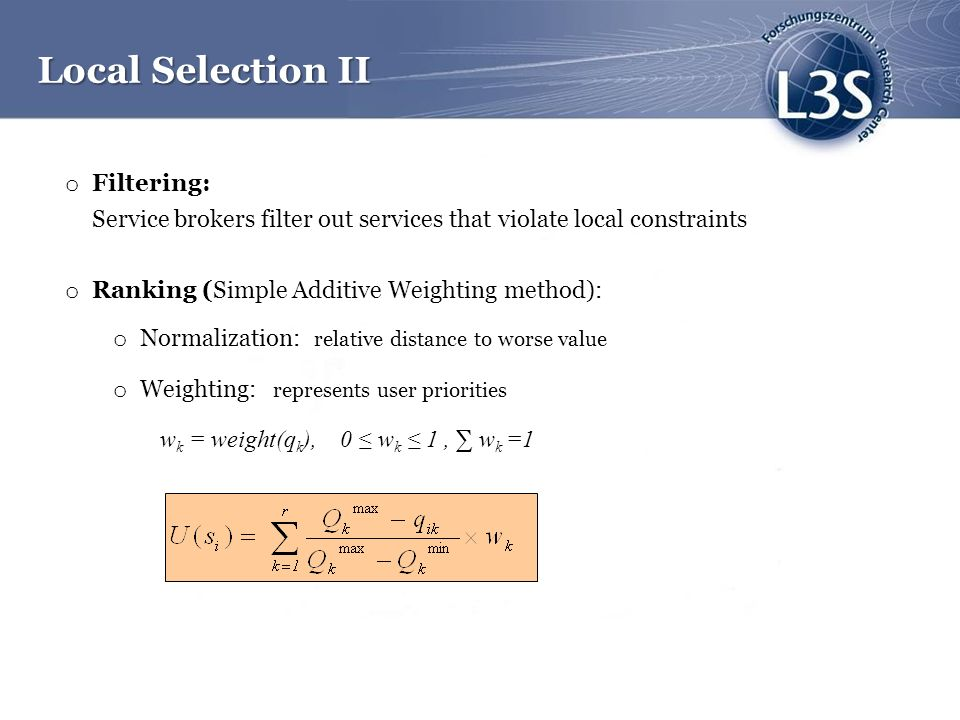 Local Selection II Filtering: