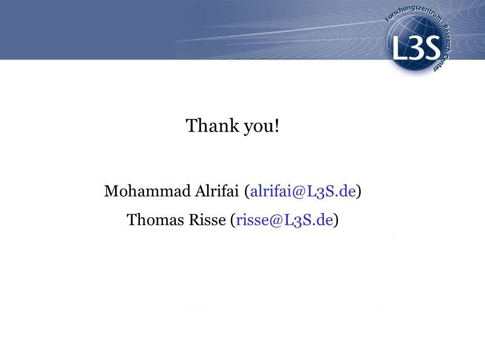 Thank you! Mohammad Alrifai (alrifai@L3S.de)