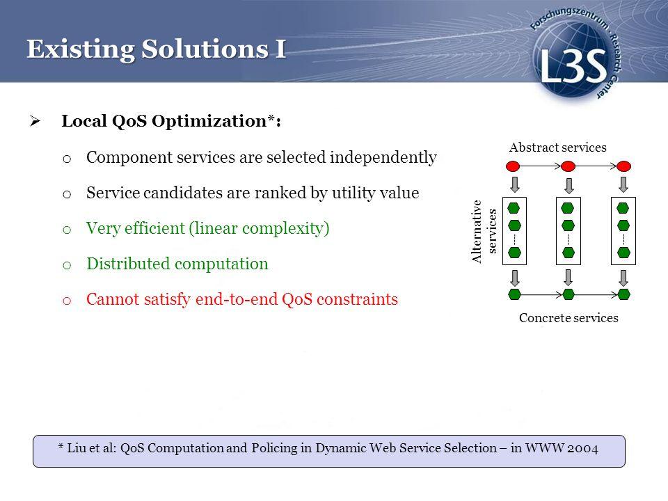 Existing Solutions I Local QoS Optimization*: